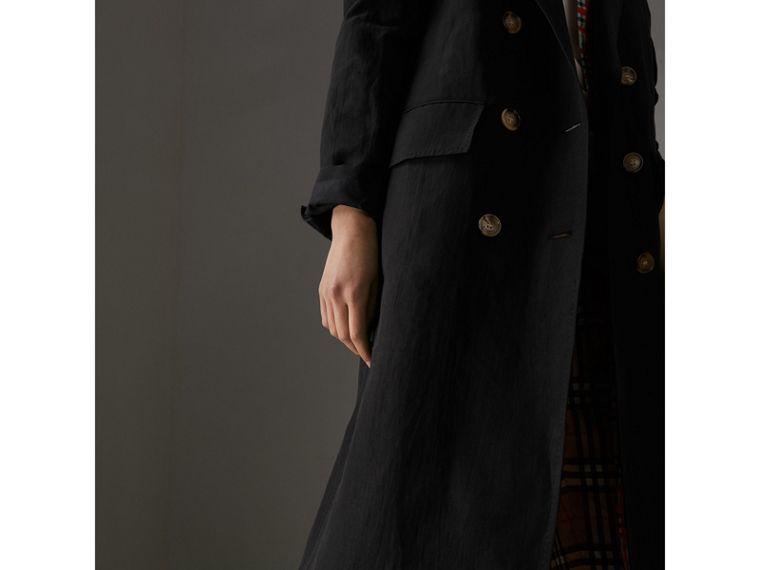 Linen Silk Tailored Coat in Black - Women | Burberry Canada - cell image 1