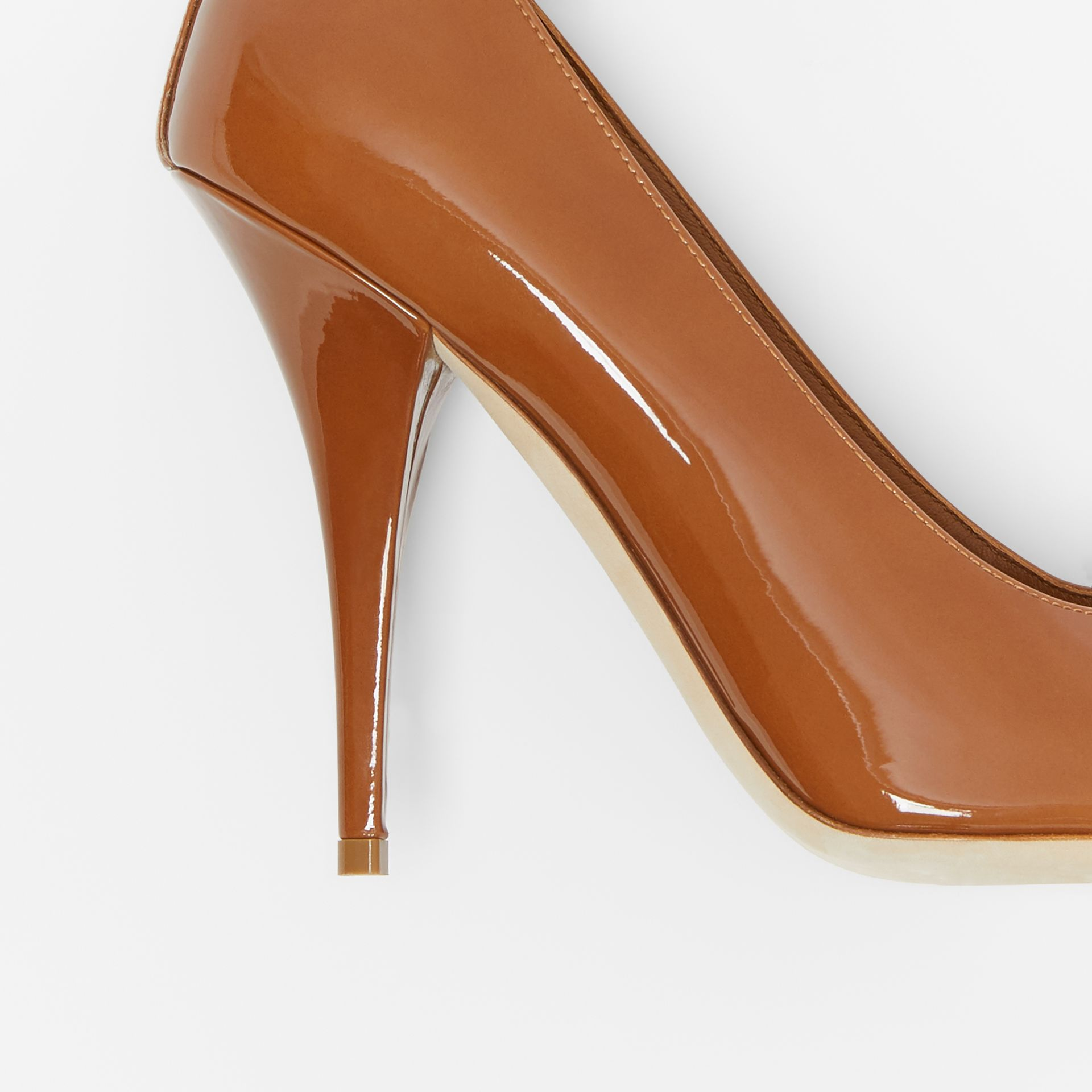 Triple Stud Patent Leather Point-toe Pumps in Tan - Women | Burberry - gallery image 5