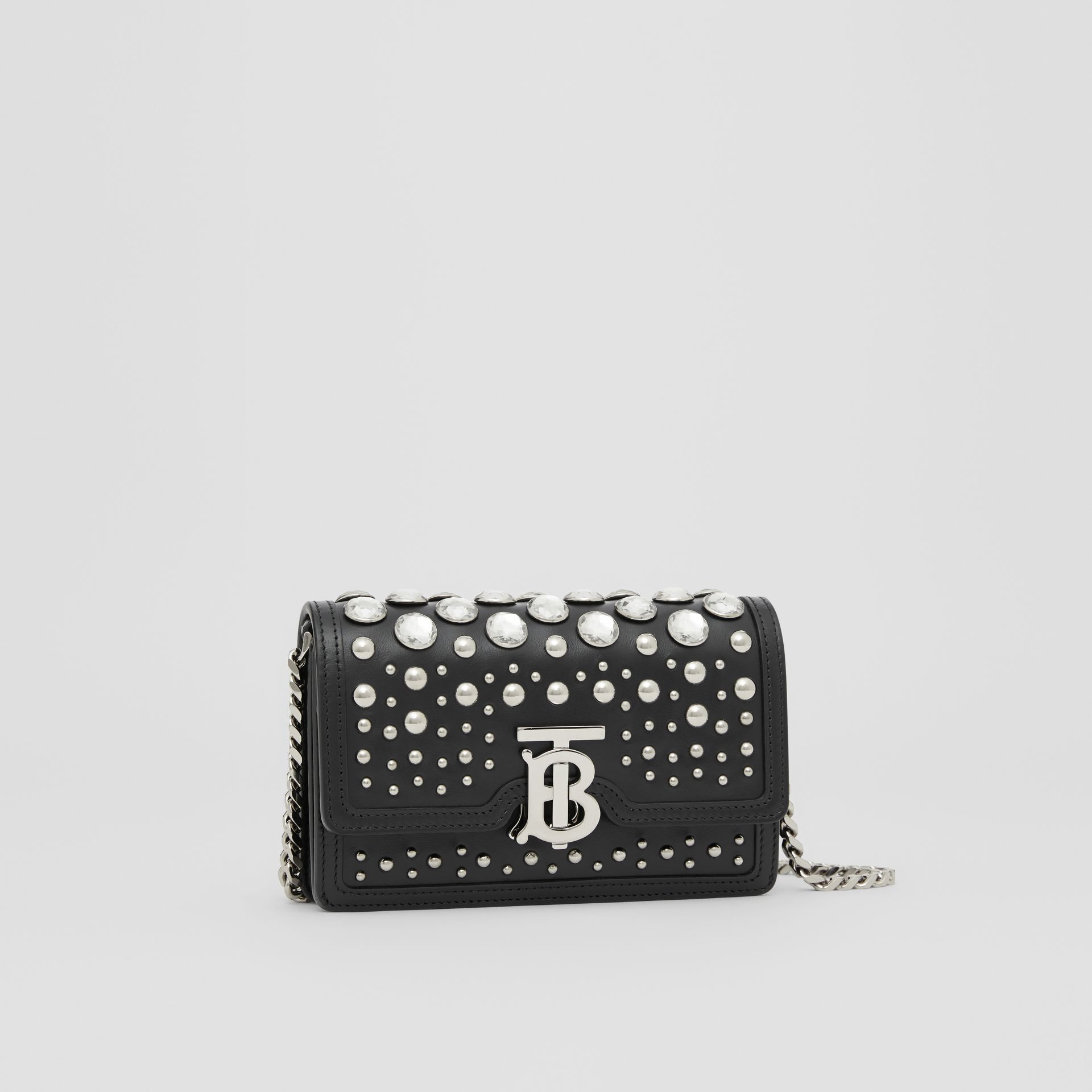 Mini Embellished Leather Shoulder Bag in Black - Women | Burberry - gallery image 6