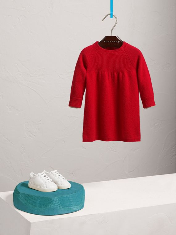 Check Cuff Knitted Cashmere Dress in Parade Red | Burberry - cell image 2