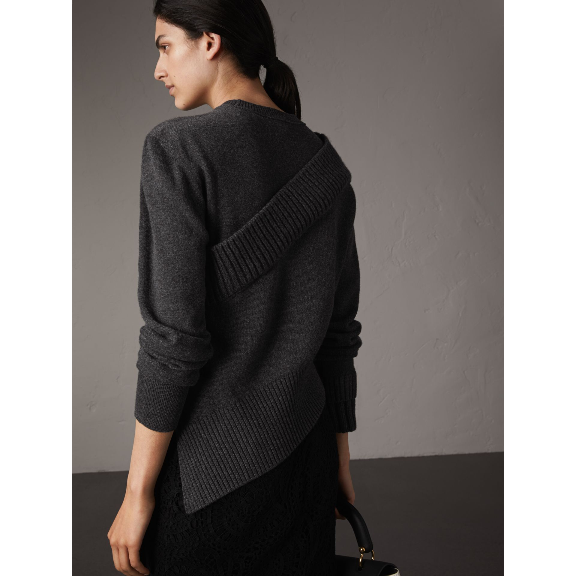Rib Knit Detail Cashmere Asymmetric Sweater in Charcoal - Women | Burberry - gallery image 3