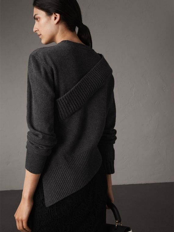 Rib Knit Detail Cashmere Asymmetric Sweater in Charcoal - Women | Burberry - cell image 2