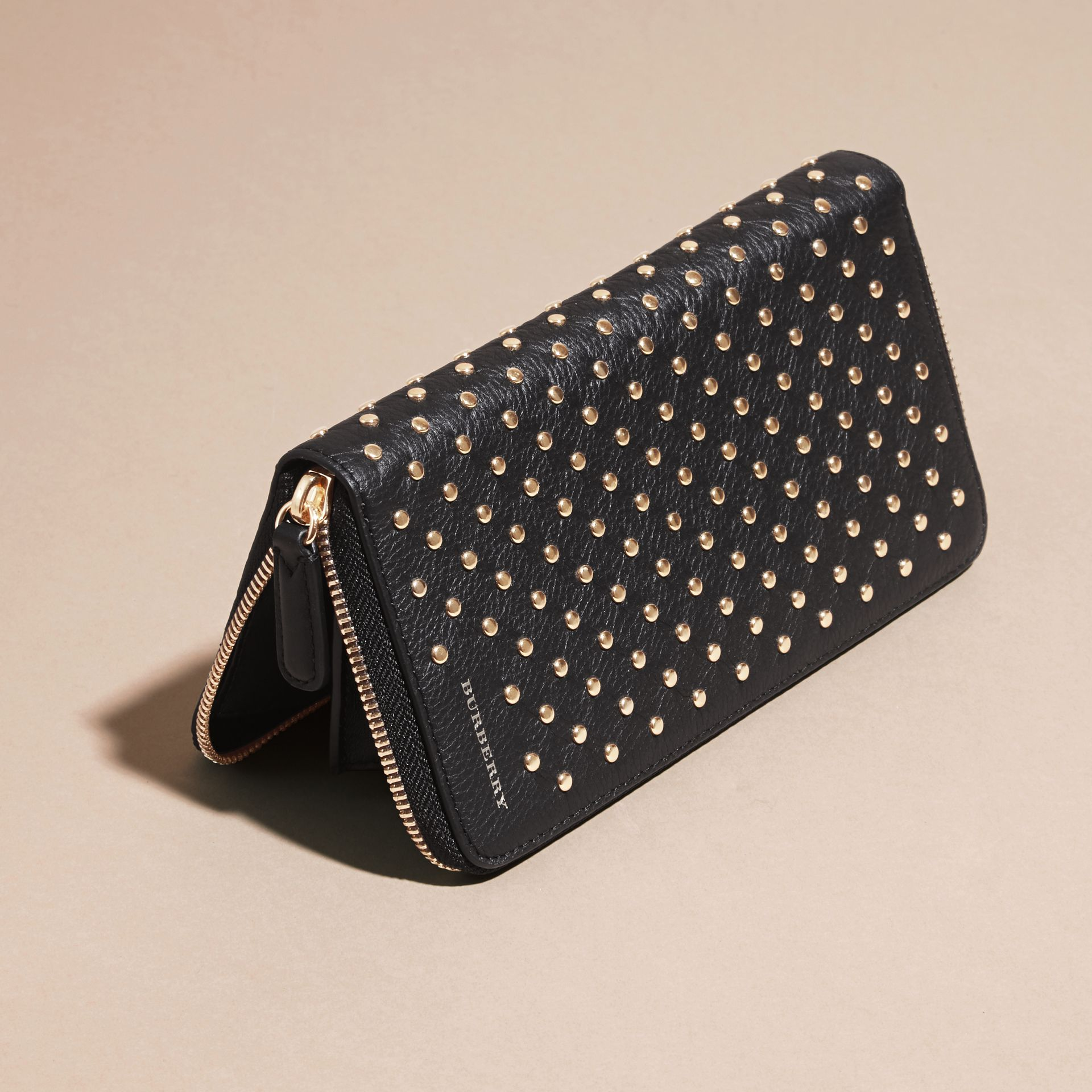 Black Studded Leather Ziparound Wallet - gallery image 3