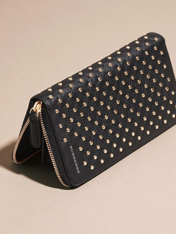 Black Studded Leather Ziparound Wallet - cell image 2