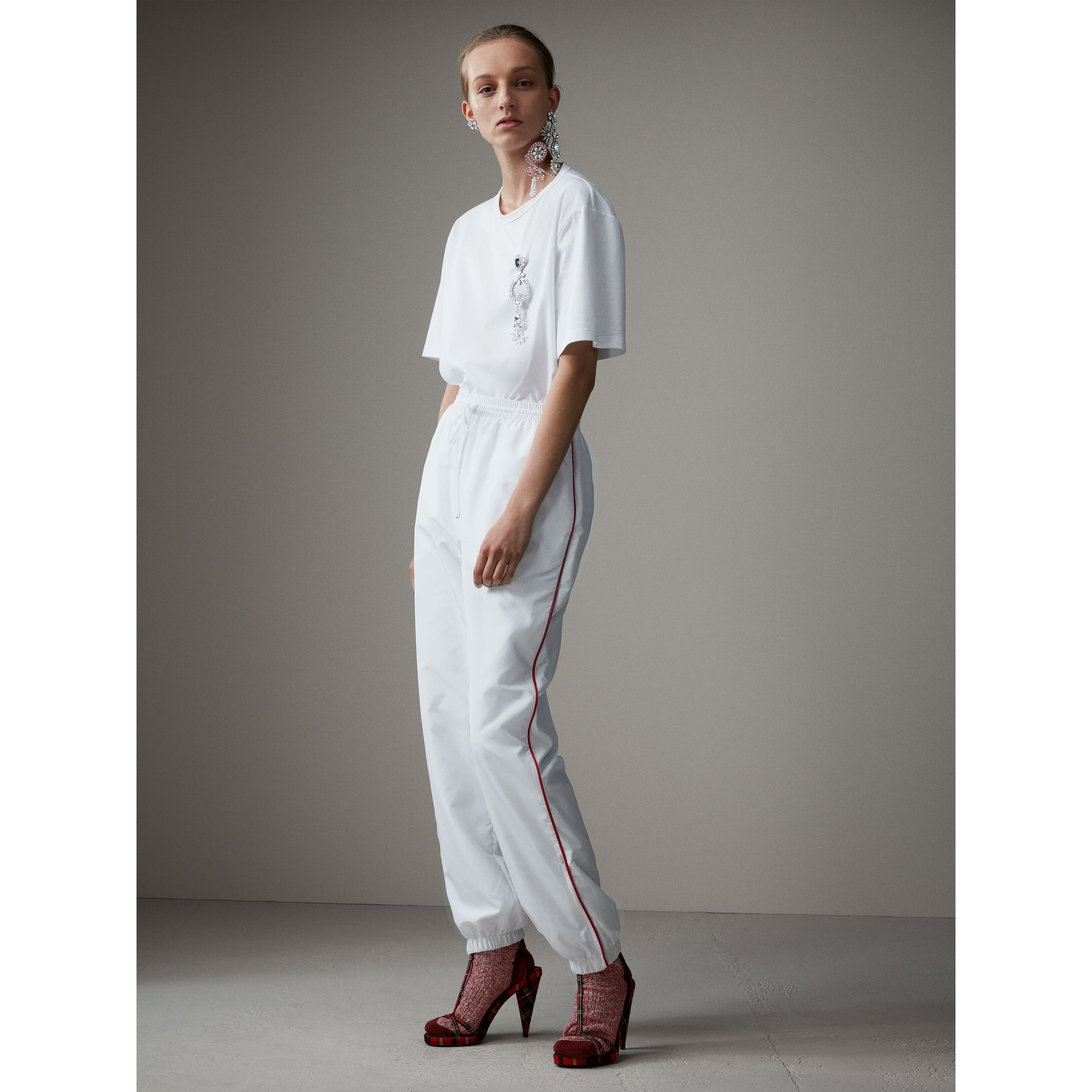 Contrast Piping Poplin Track Pants in White - Women | Burberry Australia - gallery image 1
