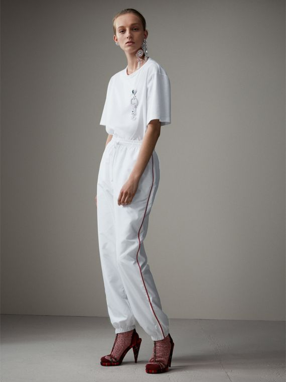Contrast Piping Poplin Track Pants in White