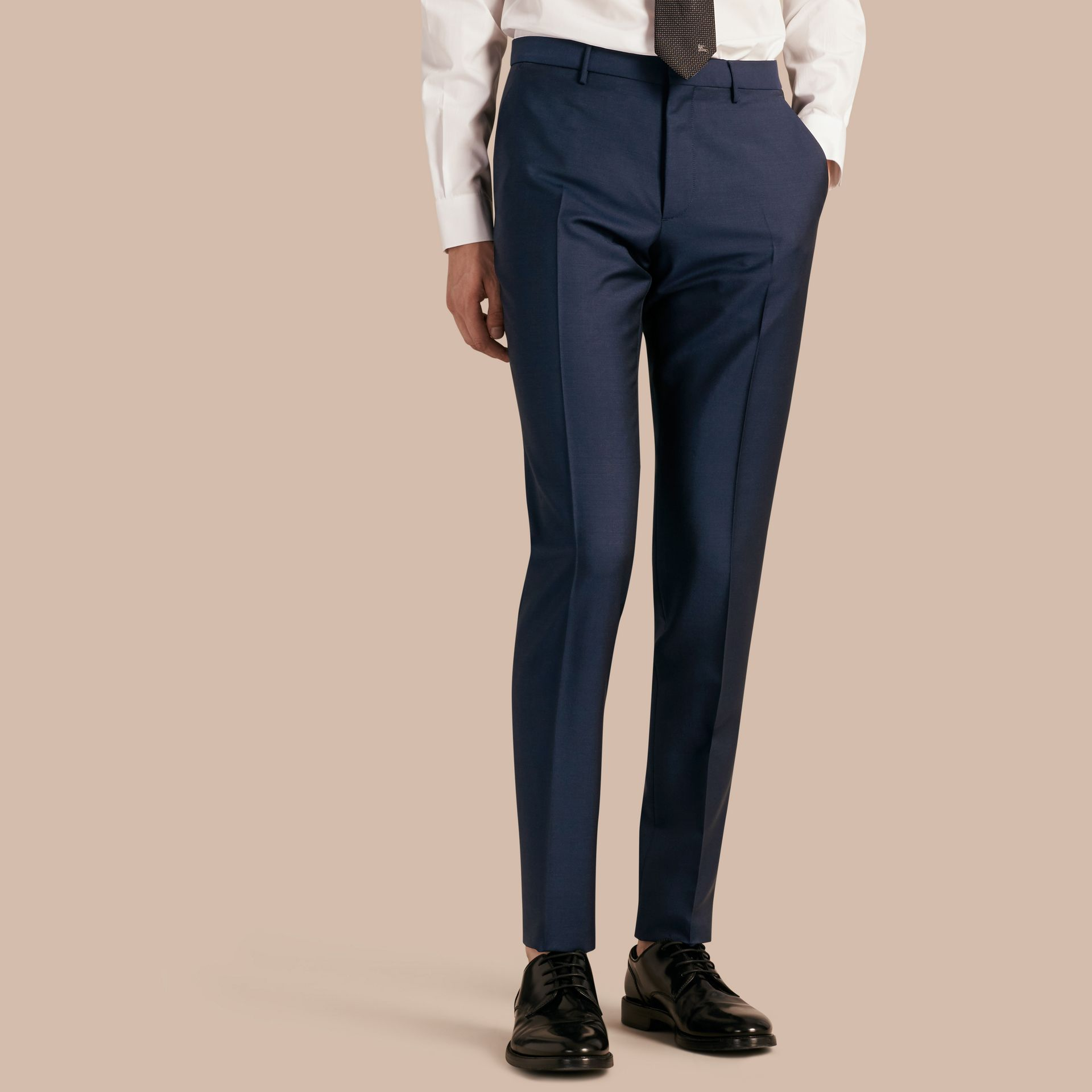 Slim Fit Wool Mohair Trousers Royal Navy - gallery image 1