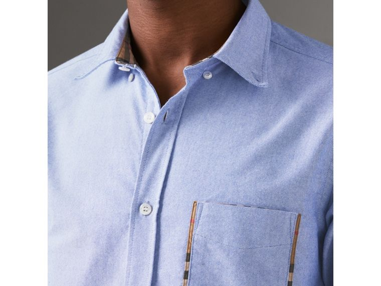 Check Detail Cotton Oxford Shirt in Mineral Blue - Men | Burberry Canada - cell image 1