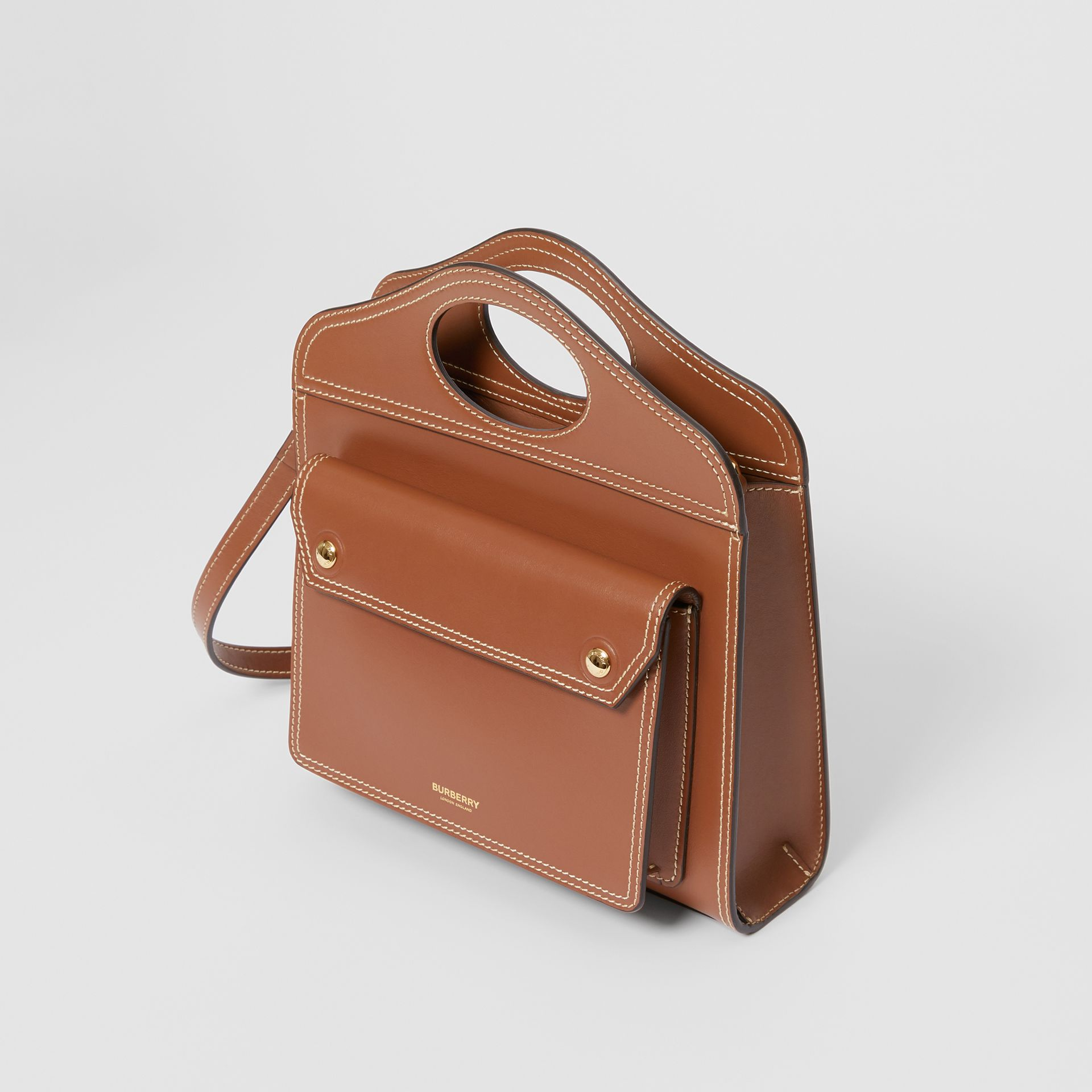 Mini Topstitch Detail Leather Pocket Bag in Malt Brown - Women | Burberry Hong Kong - gallery image 3