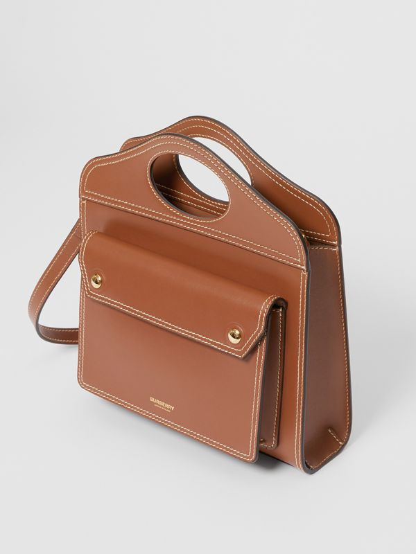 Mini Topstitch Detail Leather Pocket Bag in Malt Brown - Women | Burberry Hong Kong - cell image 3