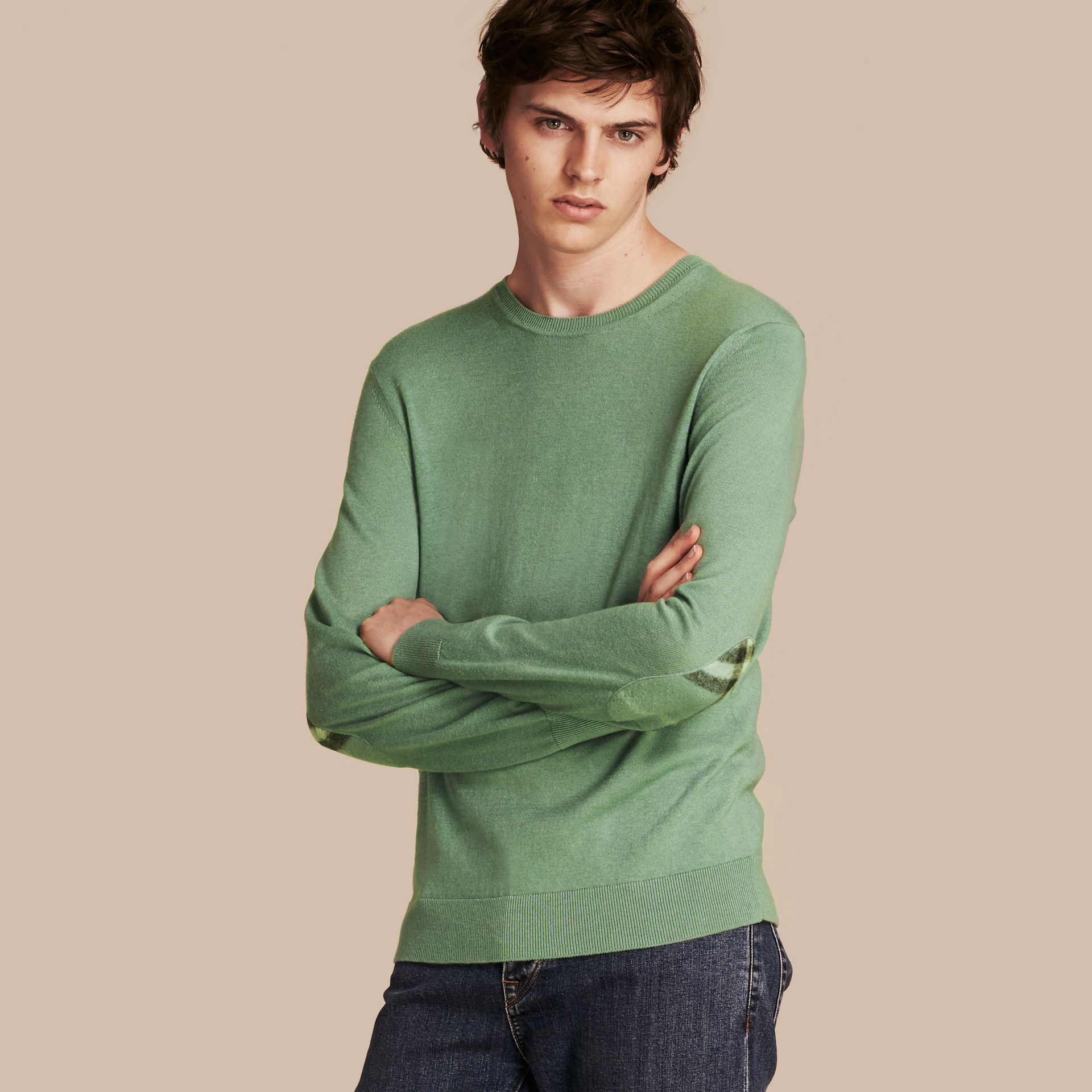 Eucalyptus green Check Trim Cashmere Cotton Sweater Eucalyptus Green - gallery image 1