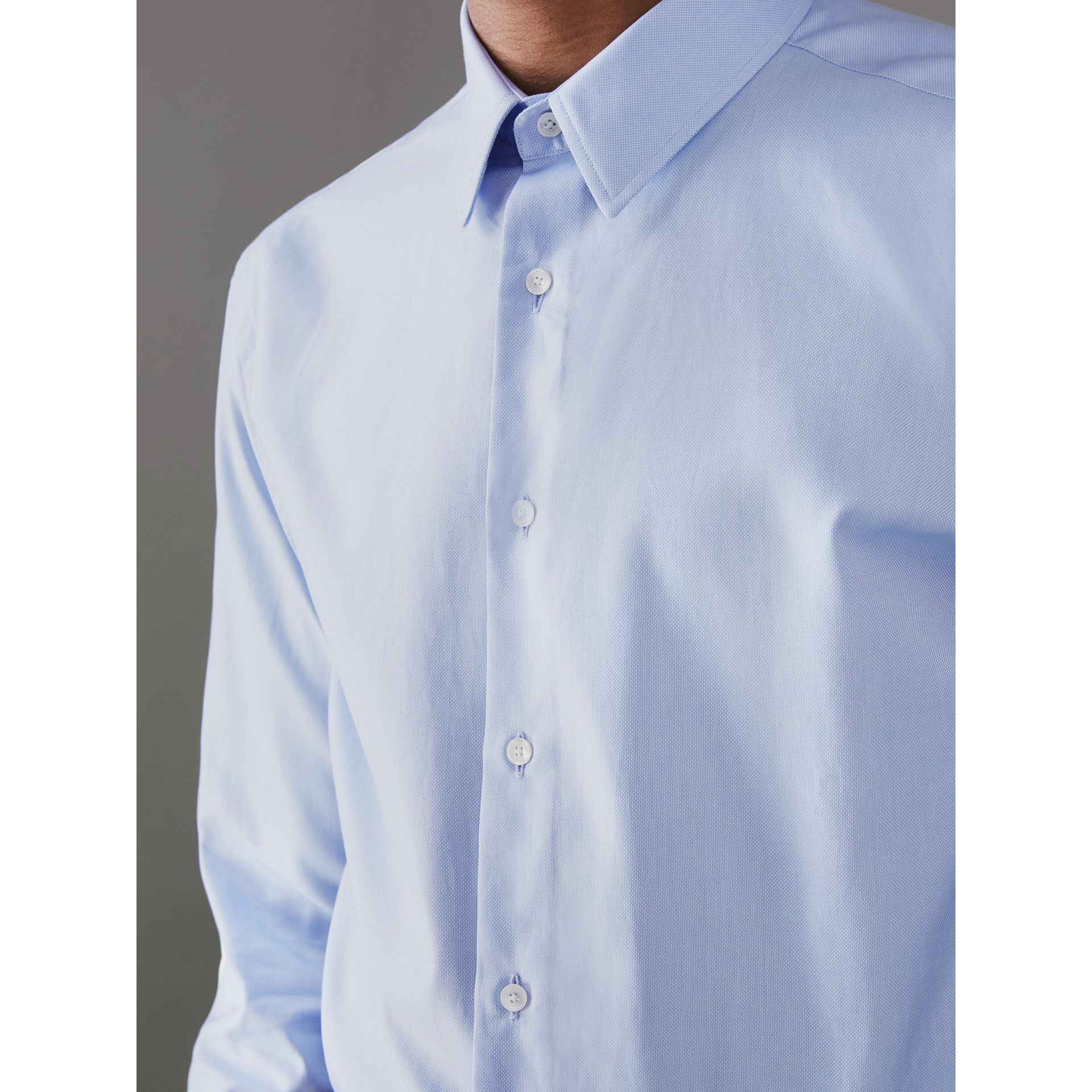Modern Fit Double Cuff Cotton Shirt in Mid Blue - Men | Burberry Canada - gallery image 1