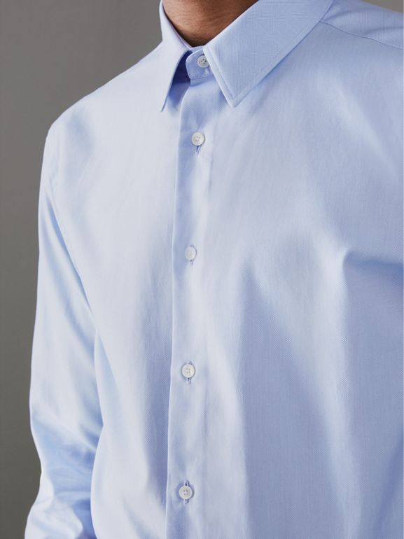 Modern Fit Double Cuff Cotton Shirt in Mid Blue - Men | Burberry Canada - cell image 1