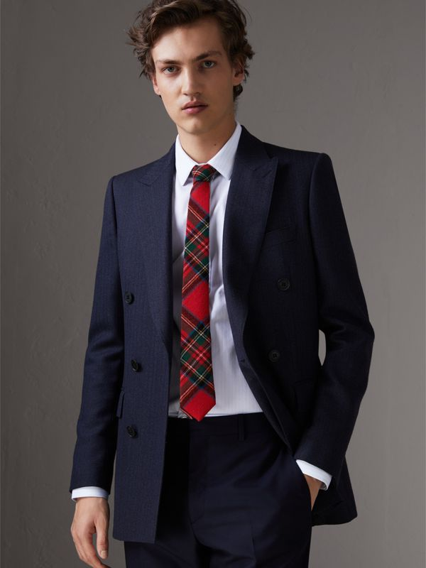 Slim Cut Tartan Wool Flannel Tie in Bright Red - Men | Burberry - cell image 2