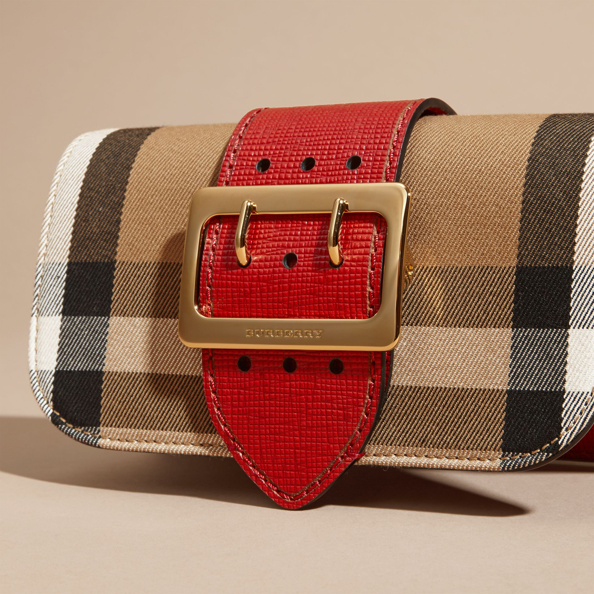 The Small Buckle Bag in House Check and Leather in Military Red/military Red - Women | Burberry United States - gallery image 1