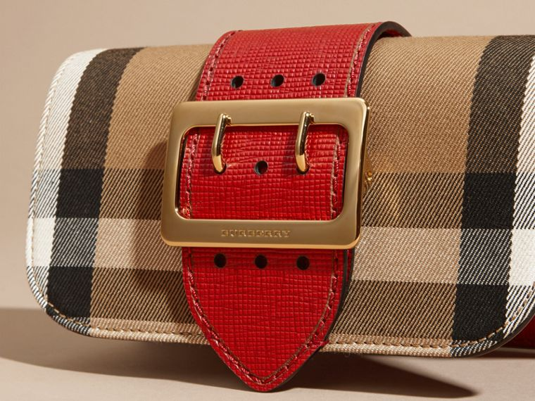The Small Buckle Bag in House Check and Leather in Military Red/military Red - Women | Burberry United States - cell image 1