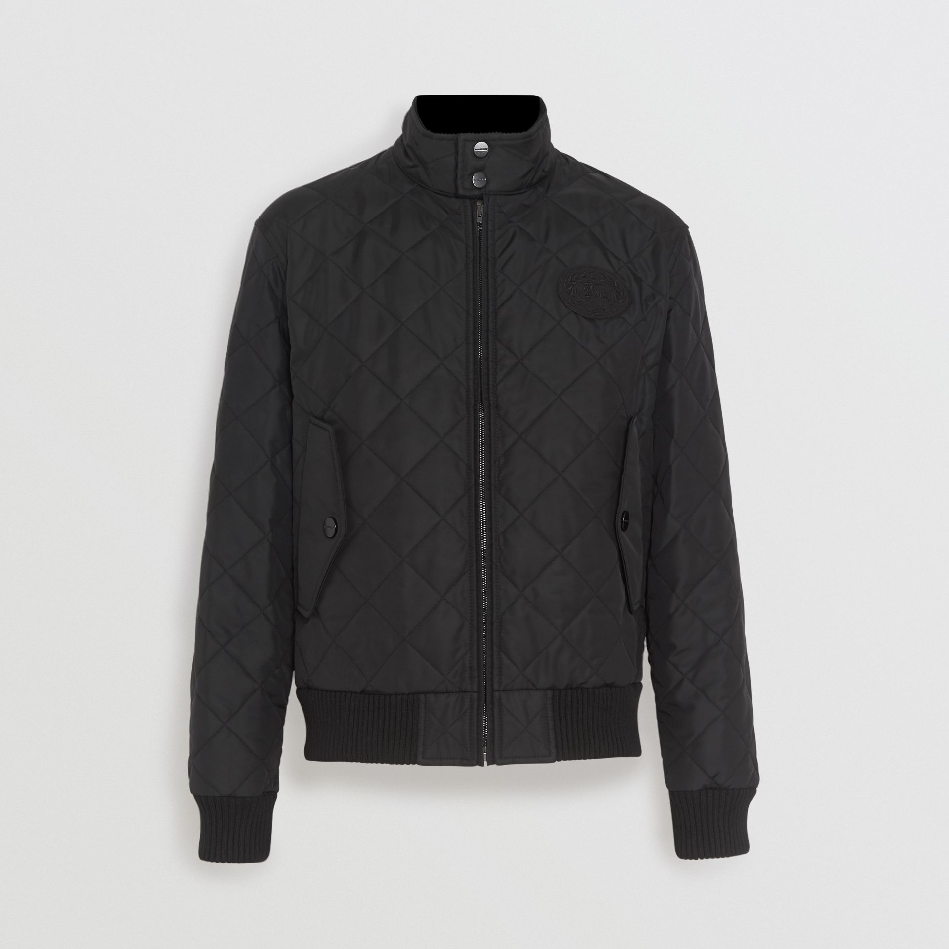 Diamond Quilted Thermoregulated Harrington Jacket in Black - Men | Burberry - gallery image 6