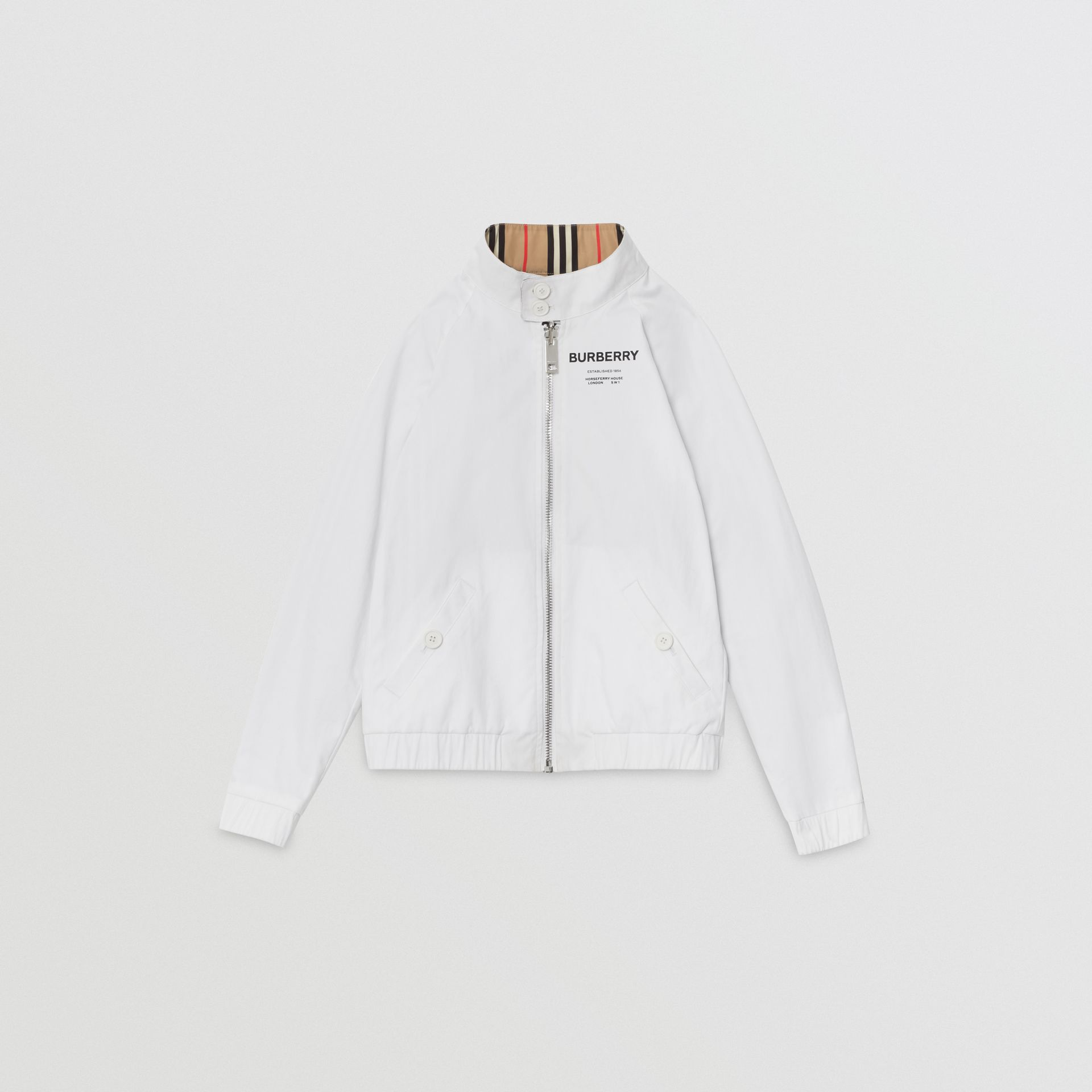 Reversible Icon Stripe Cotton Harrington Jacket in Optic White | Burberry United States - gallery image 3