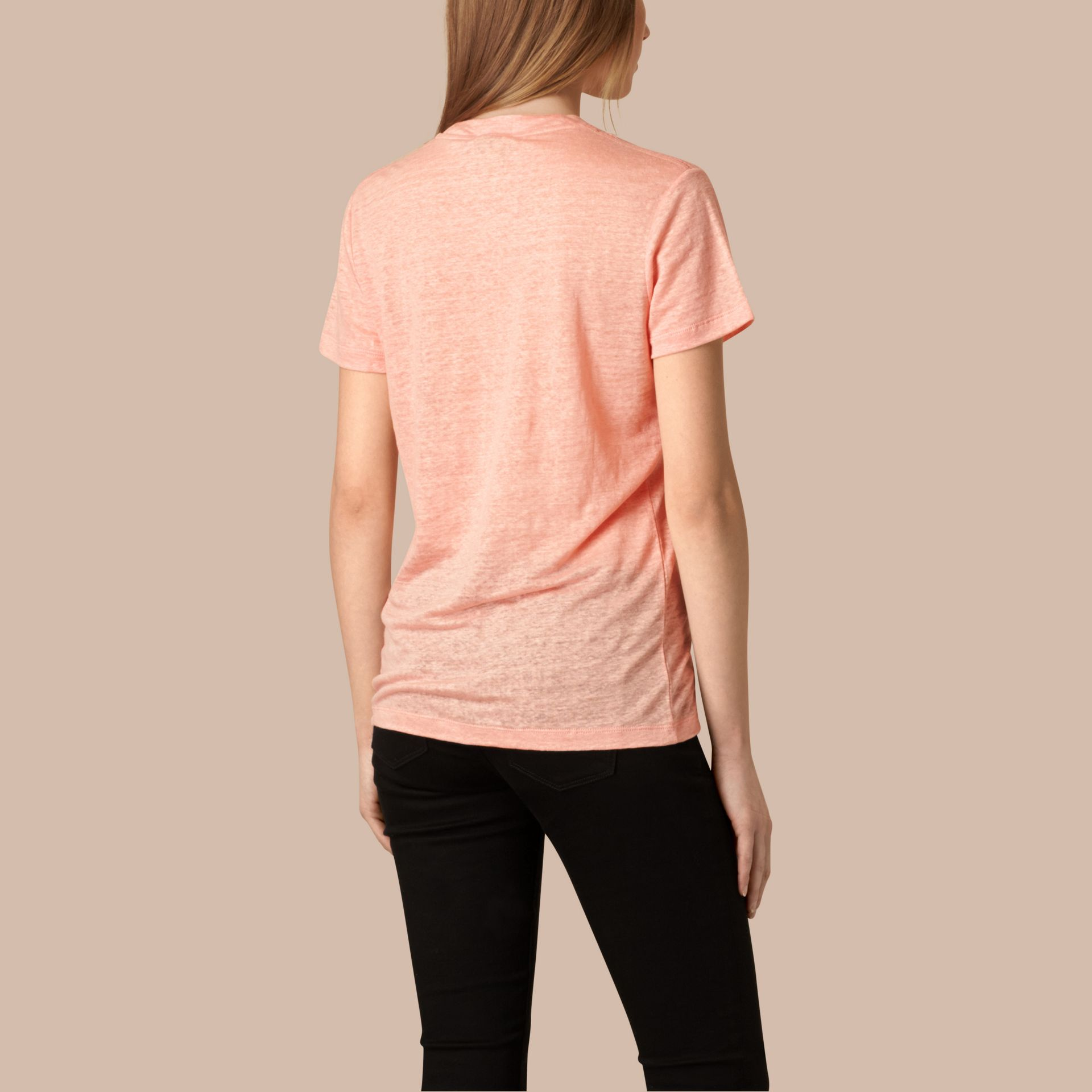 Coral pink V-Neck Open Stitch Detail Linen T-Shirt Coral Pink - gallery image 2