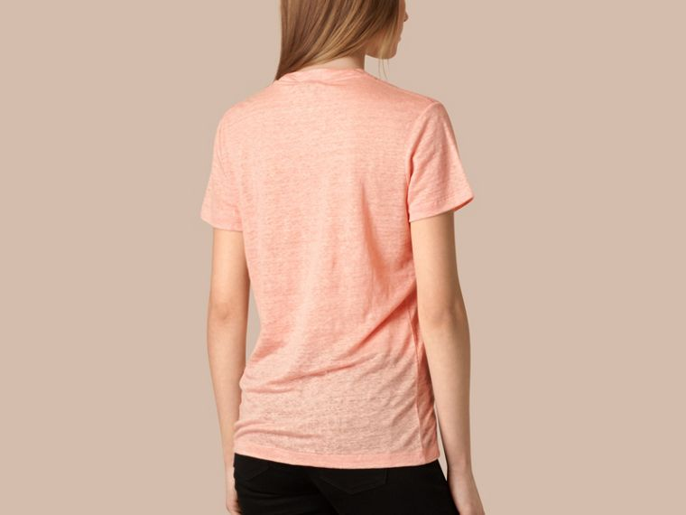 Coral pink V-Neck Open Stitch Detail Linen T-Shirt Coral Pink - cell image 1