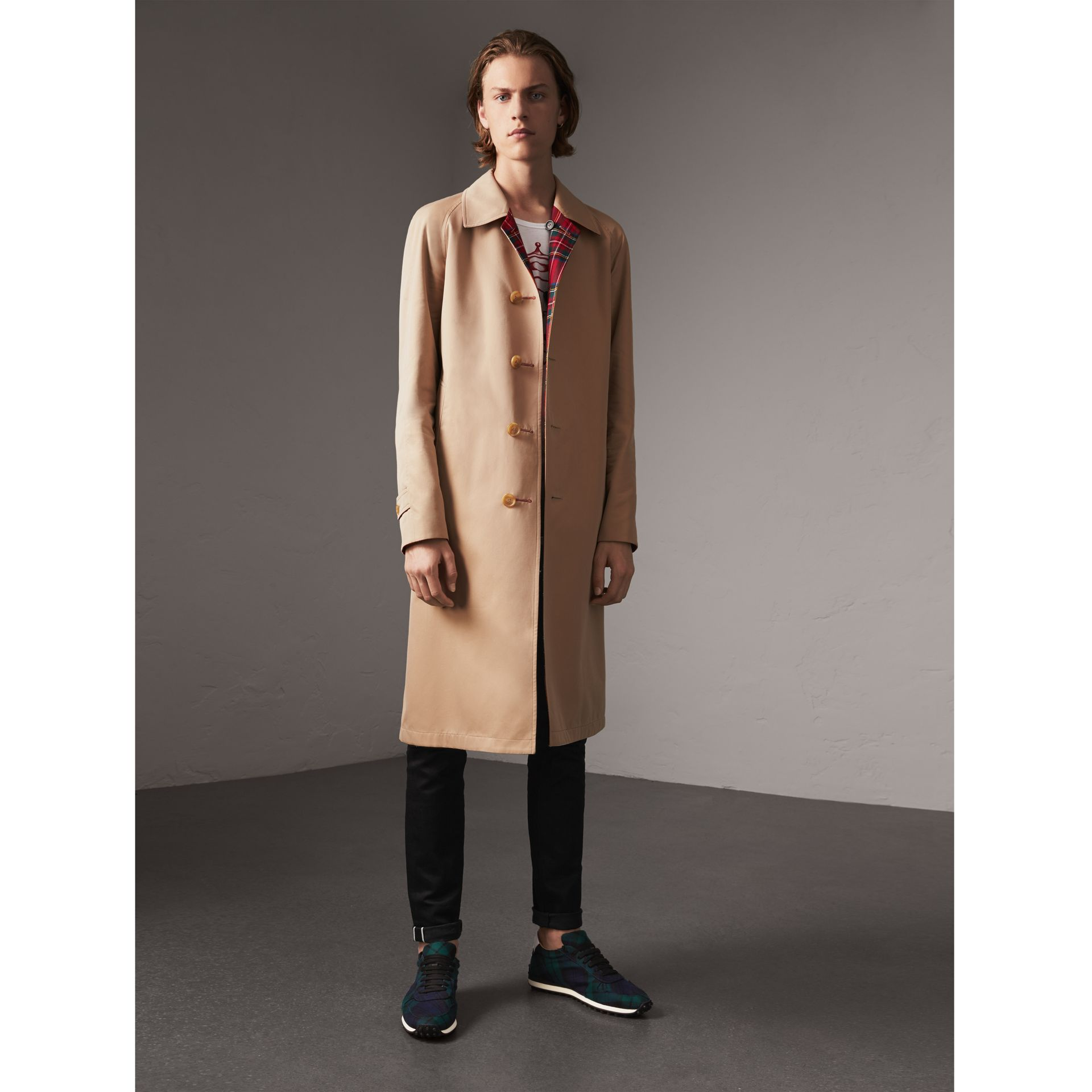 Reversible Gabardine and Tartan Wool Car Coat in Honey/ Red - Men | Burberry United States - gallery image 1