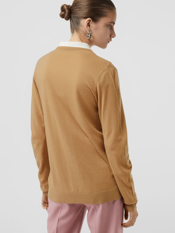 Rib Knit Cashmere Cardigan in Camel - Women | Burberry United Kingdom - cell image 2