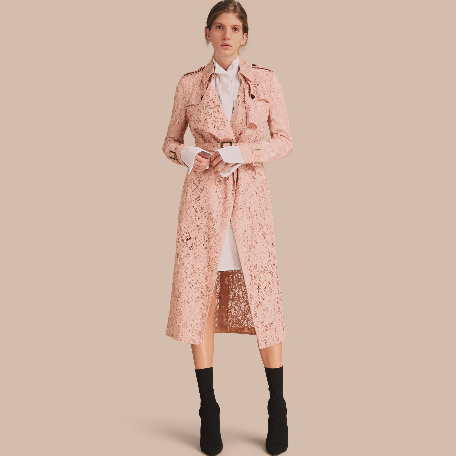 Macramé Lace Trench Coat Pale Pink - gallery image 1