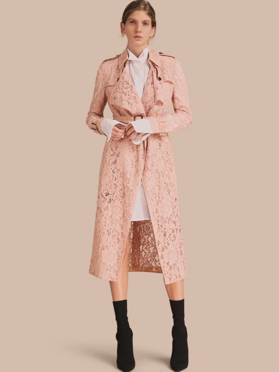 Macramé Lace Trench Coat Pale Pink