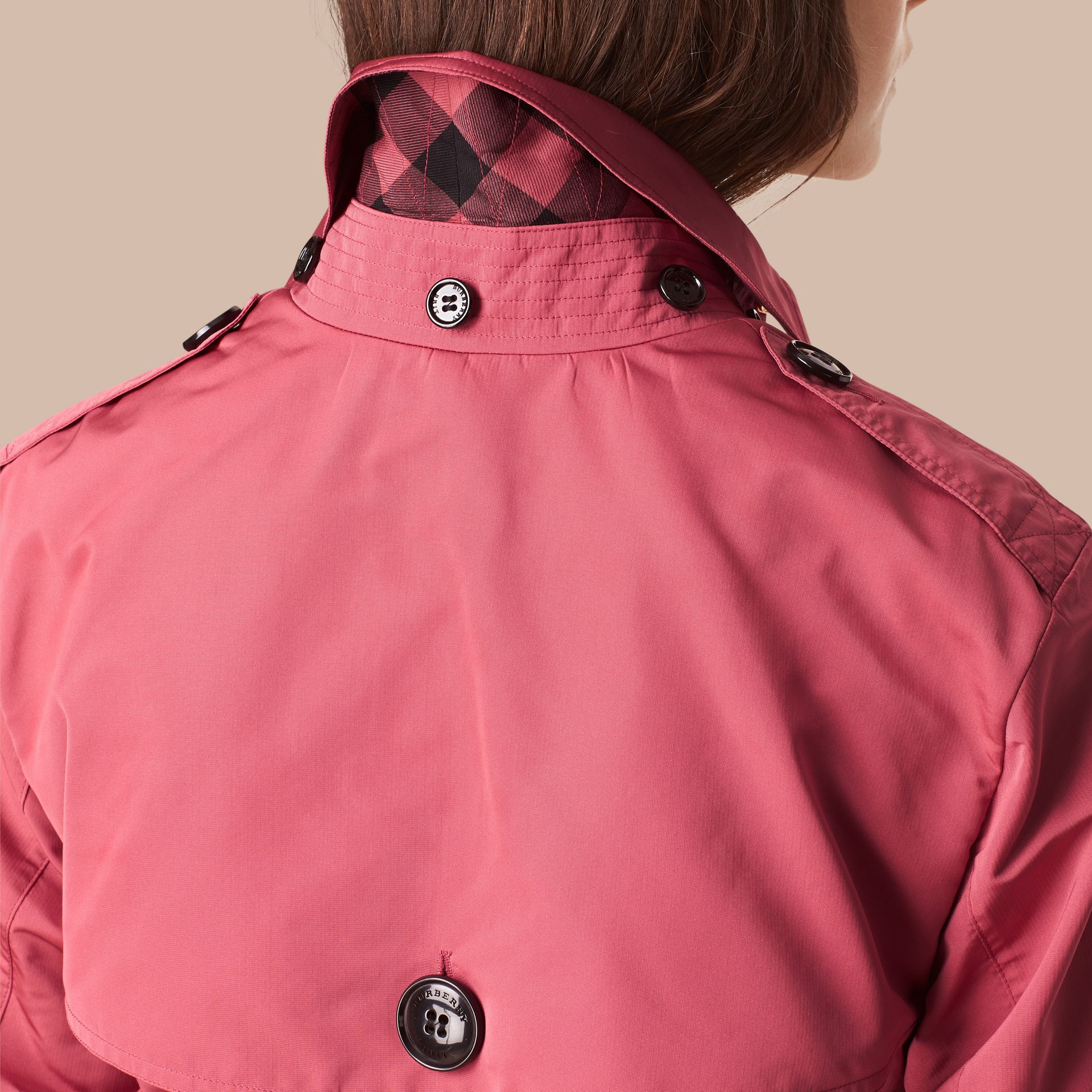 Bright copper pink Showerproof Trench Coat with Detachable Hood Bright Copper Pink - gallery image 2