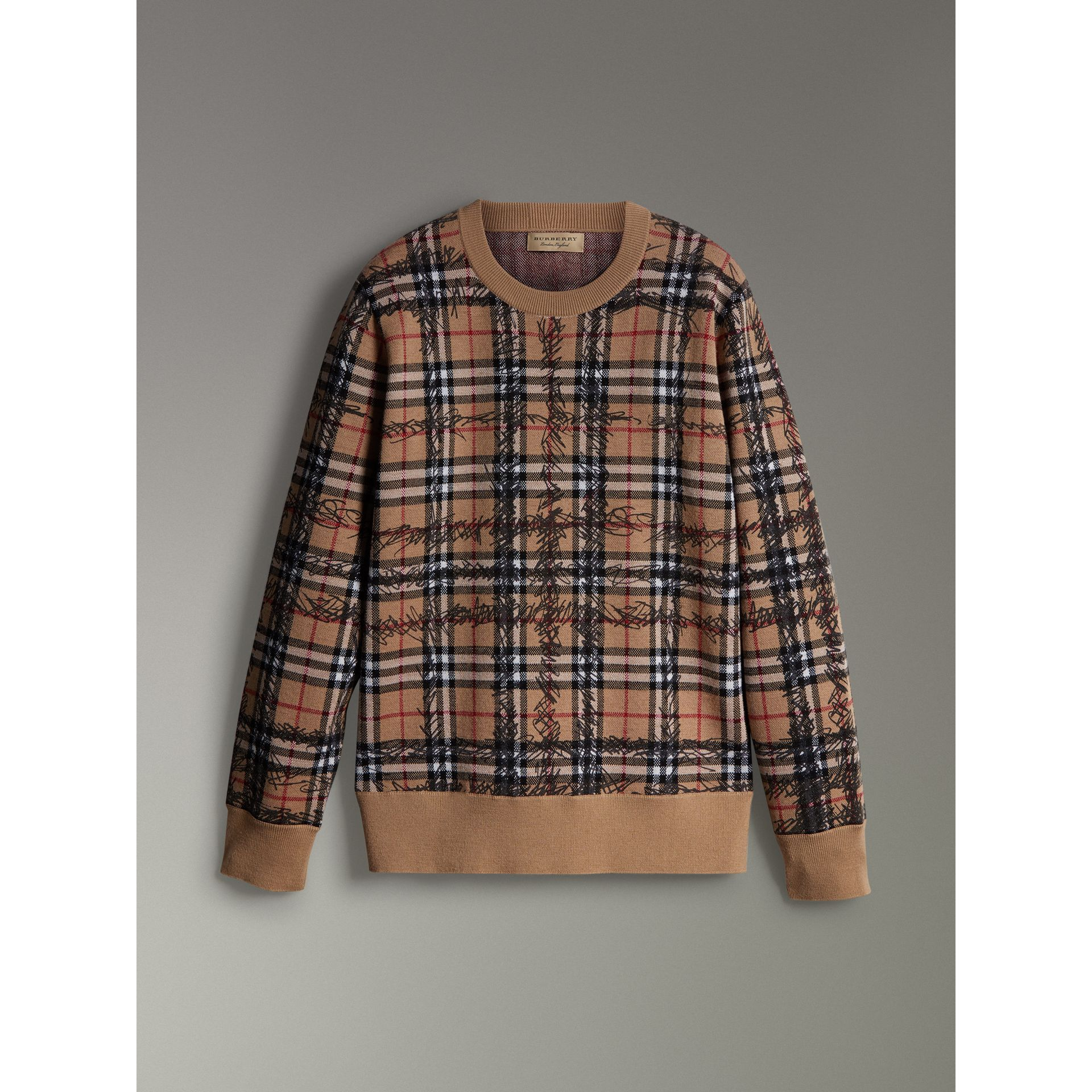 Scribble Check Merino Wool Sweater in Camel/black - Men | Burberry - gallery image 3