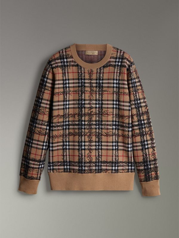 Scribble Check Merino Wool Sweater in Camel/black - Men | Burberry - cell image 3