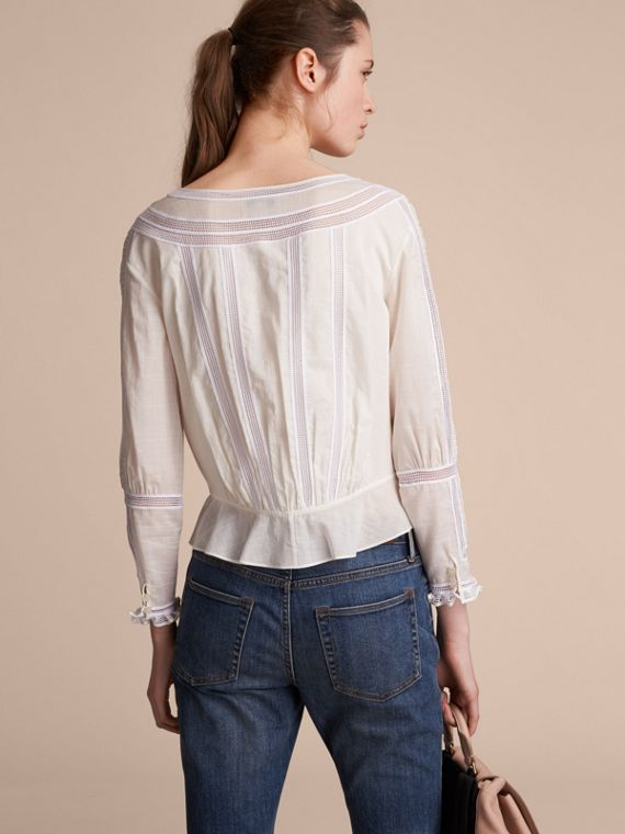 Lace and Pleat Detail Cotton Voile Top - Women | Burberry - cell image 2