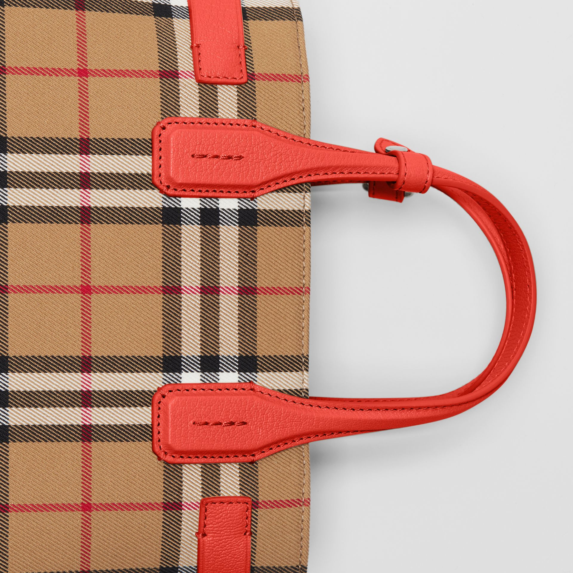 The Small Banner in Vintage Check and Leather in Bright Red - Women | Burberry Australia - gallery image 1