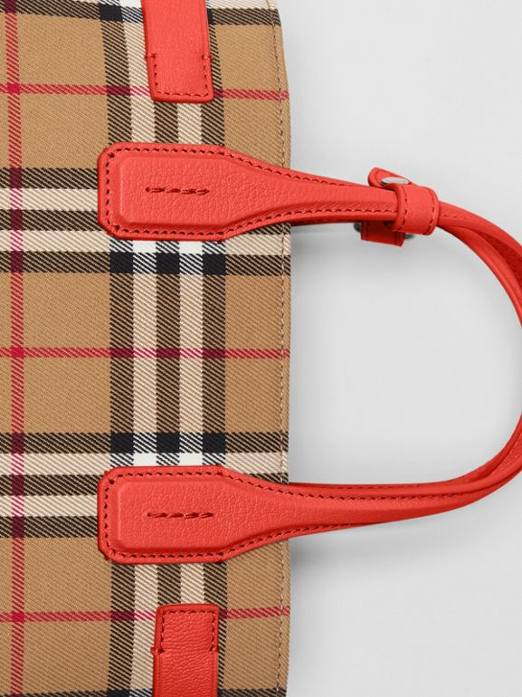 The Small Banner in Vintage Check and Leather in Bright Red - Women | Burberry United Kingdom - cell image 1