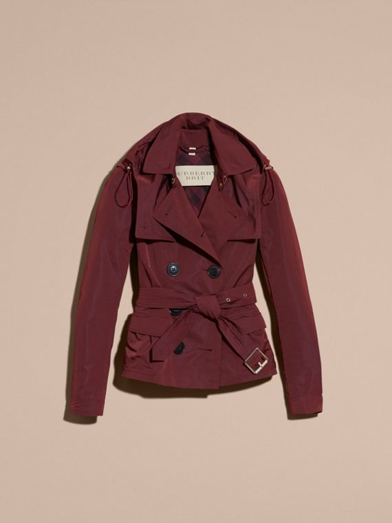 Deep claret Showerproof Taffeta Trench Jacket with Detachable Hood Deep Claret - cell image 3