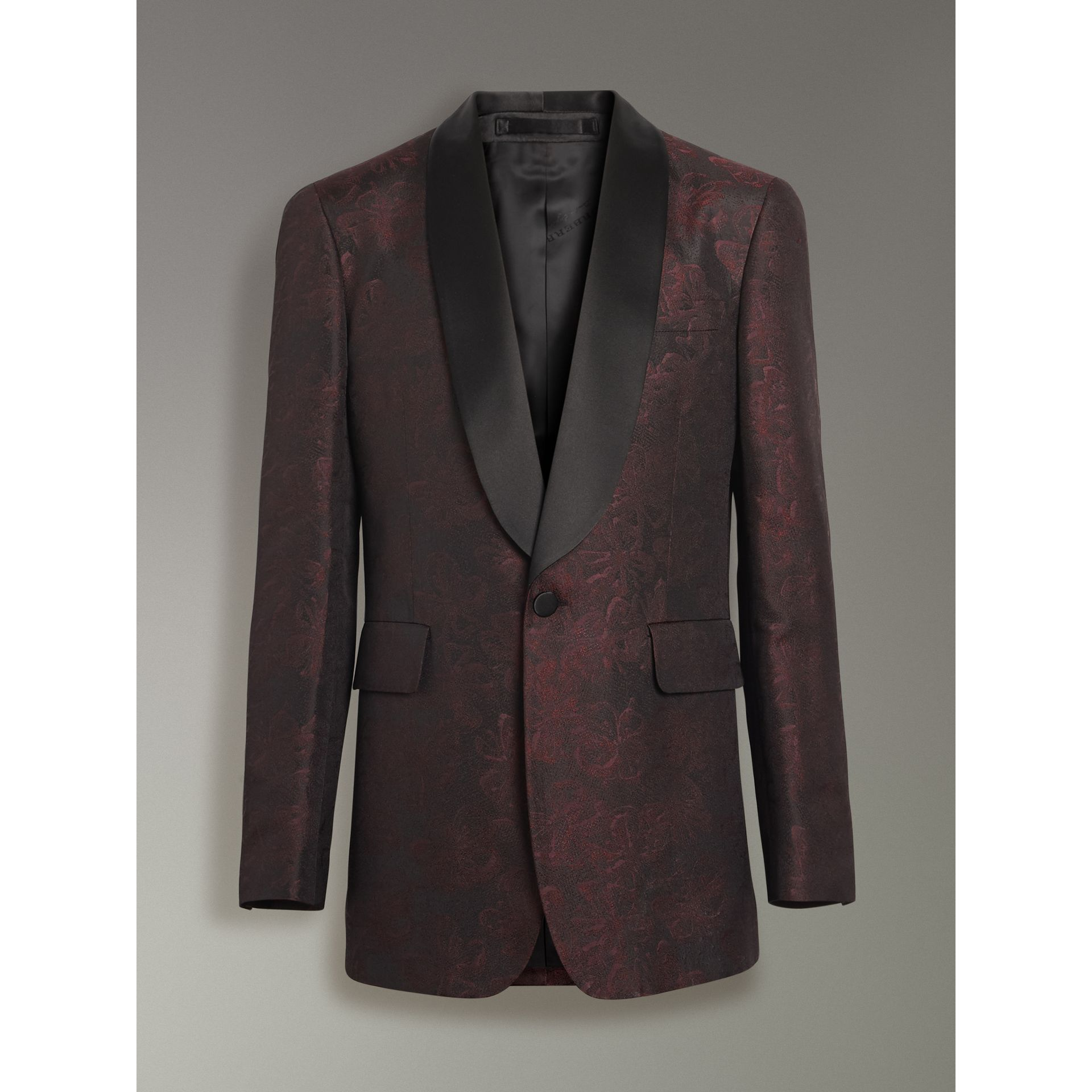 Slim Fit Floral Silk Jacquard Evening Jacket in Deep Claret - Men | Burberry United Kingdom - gallery image 3