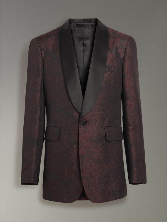 Slim Fit Floral Silk Jacquard Evening Jacket in Deep Claret - Men | Burberry - cell image 3