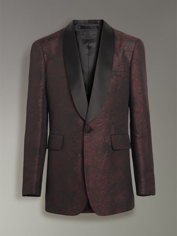 Slim Fit Floral Silk Jacquard Evening Jacket in Deep Claret - Men | Burberry Singapore - cell image 3