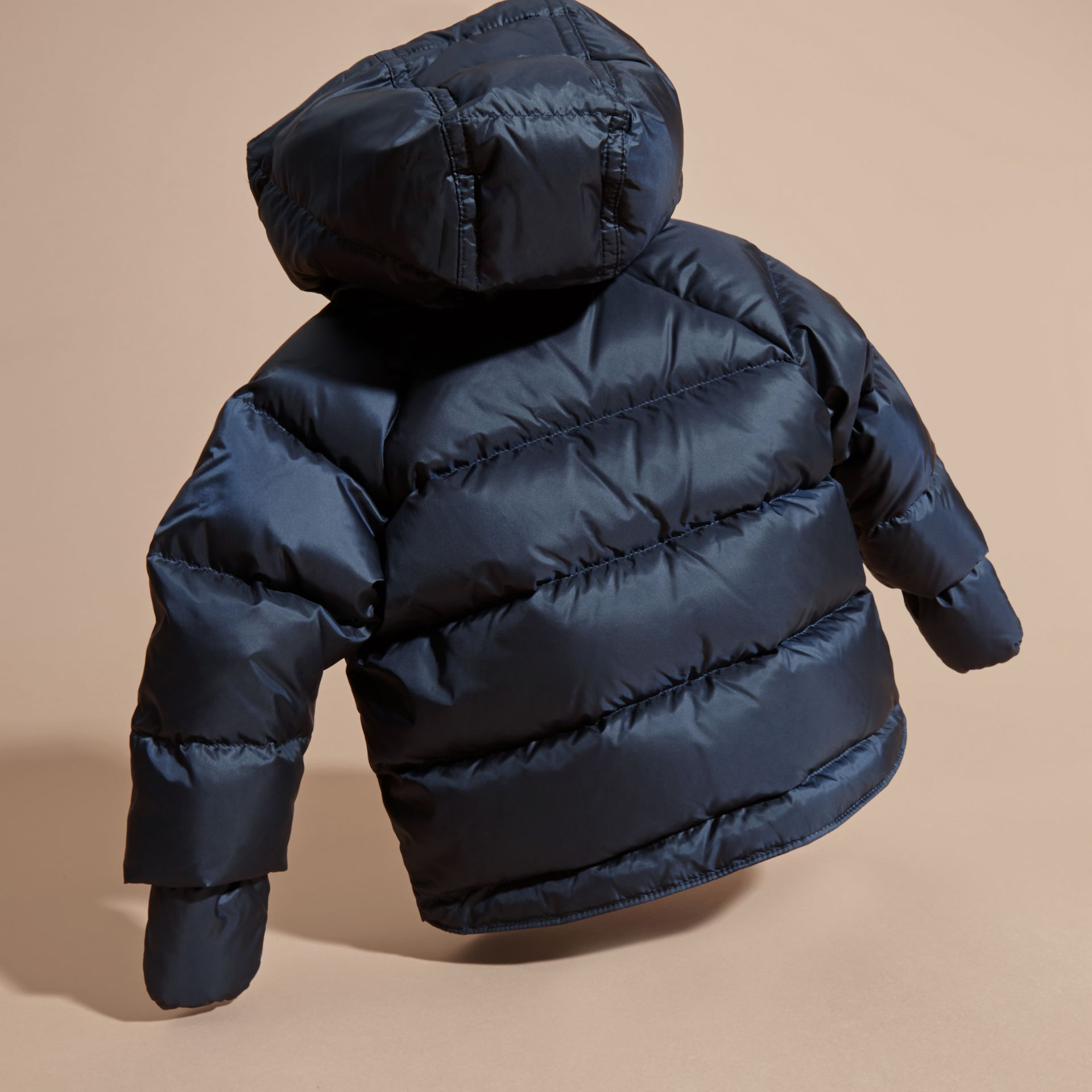 Hooded Down-filled Puffer Jacket with Mittens in Navy | Burberry Canada - gallery image 4