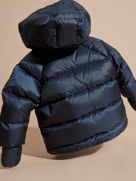 Hooded Down-filled Puffer Jacket with Mittens in Navy | Burberry United Kingdom - cell image 3