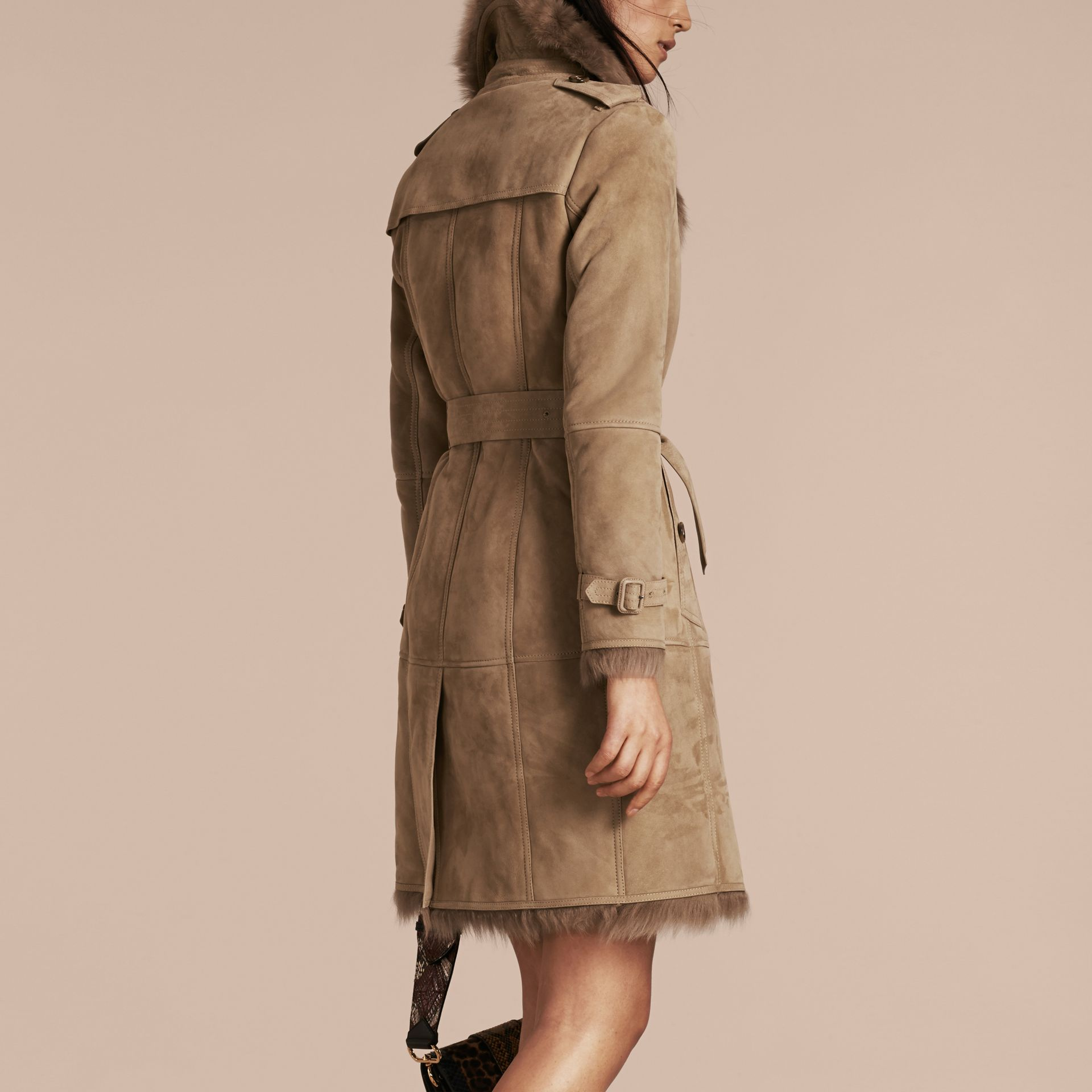 Camel Shearling Trench Coat Camel - gallery image 3
