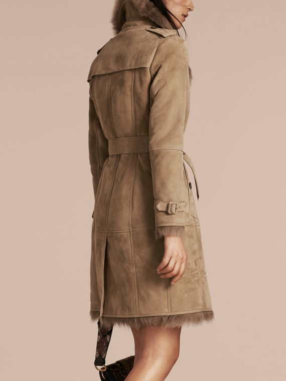 Shearling Trench Coat Camel - cell image 2
