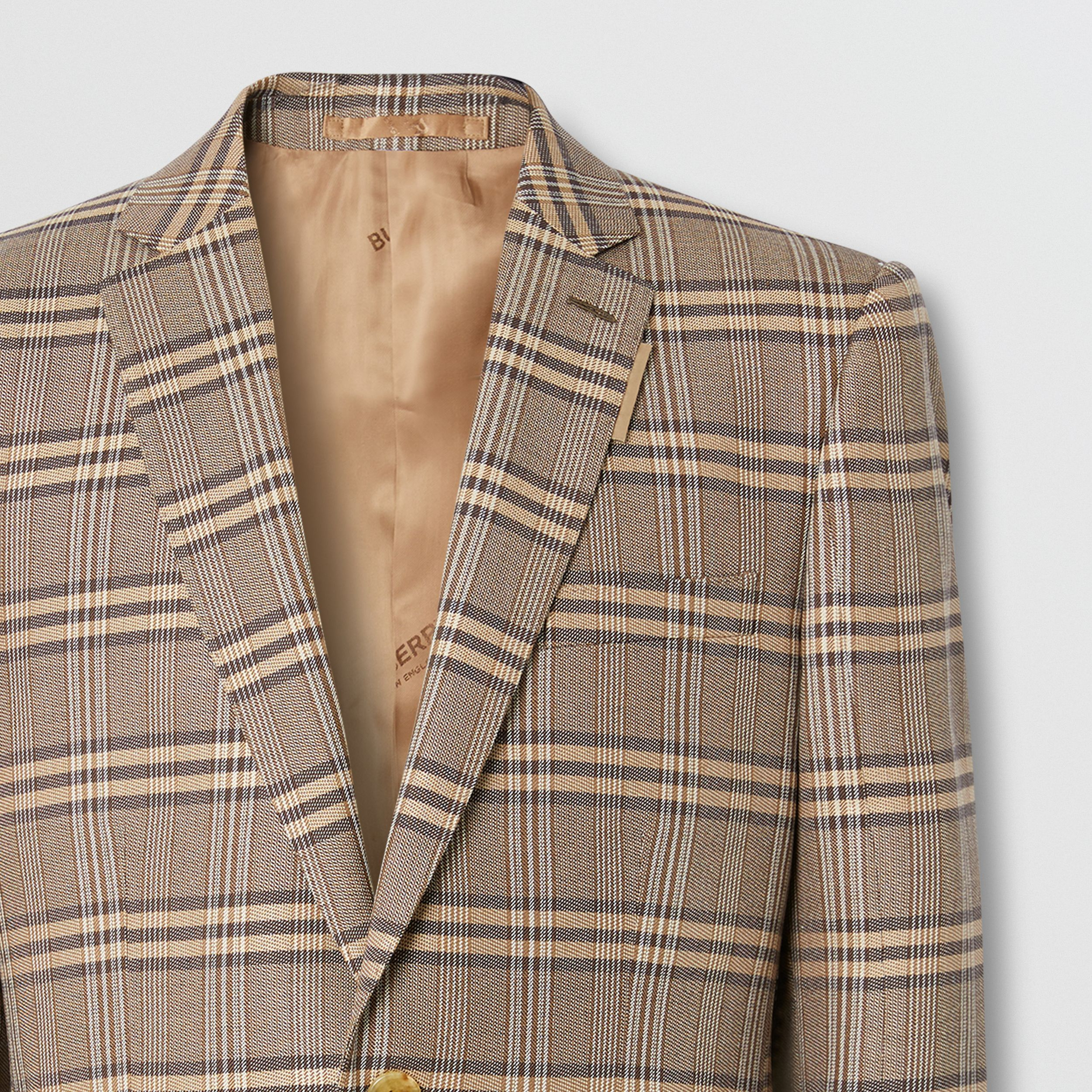 Prince of Wales Check Wool Silk Tailored Jacket in Dusty Caramel | Burberry - 3