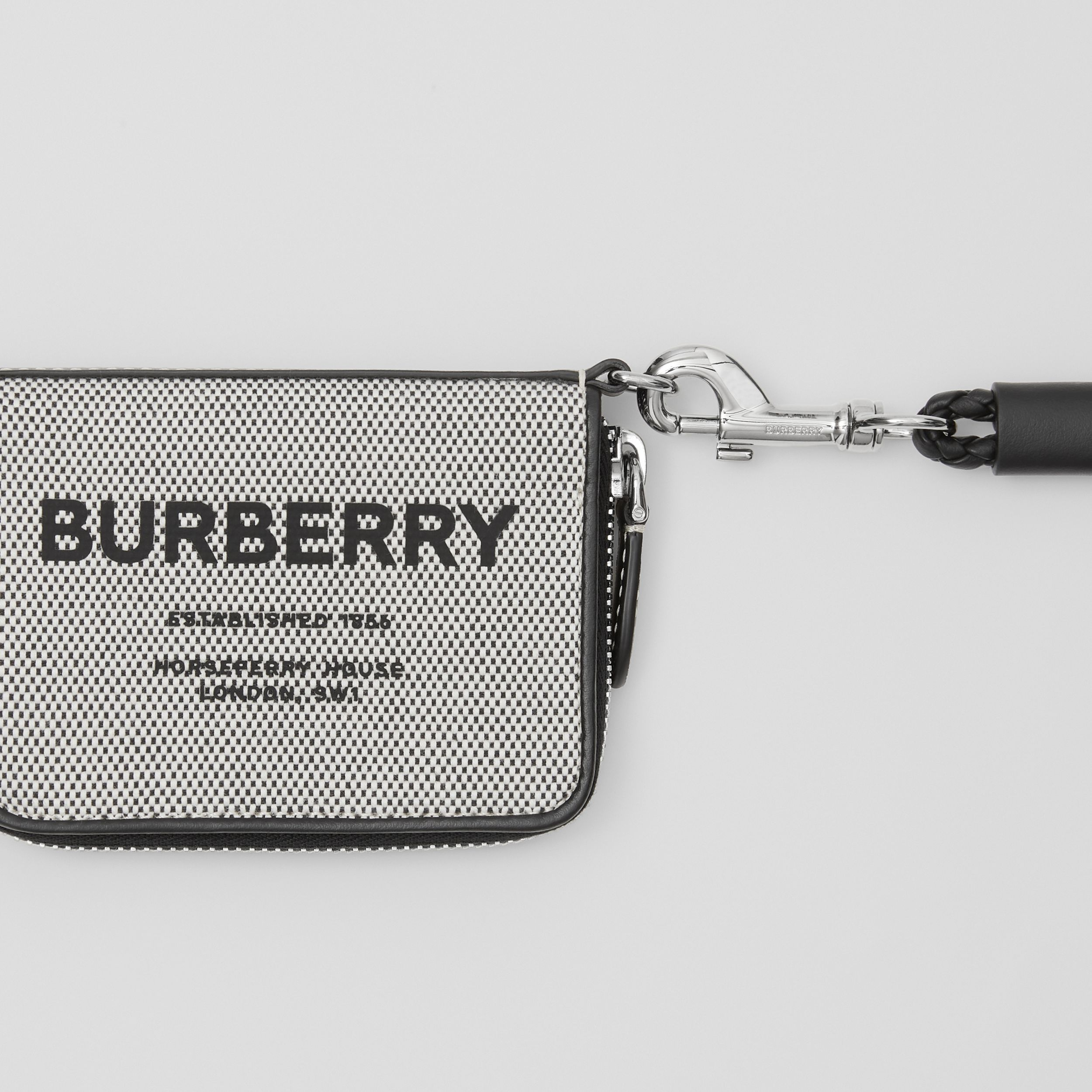Horseferry Print Cotton Canvas Card Case Lanyard in Black | Burberry - 2