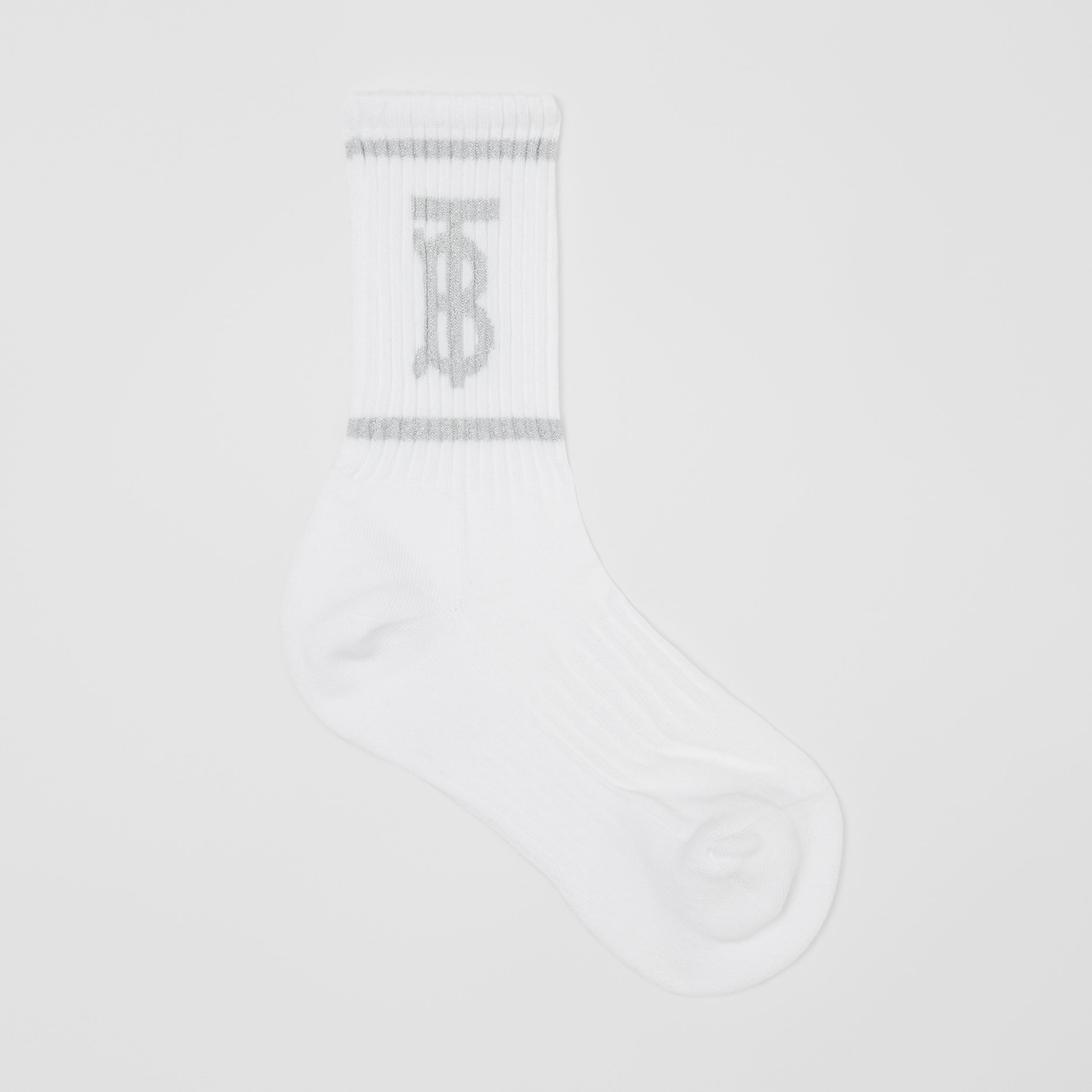 Metallic Monogram Motif Intarsia Socks in White | Burberry - 1