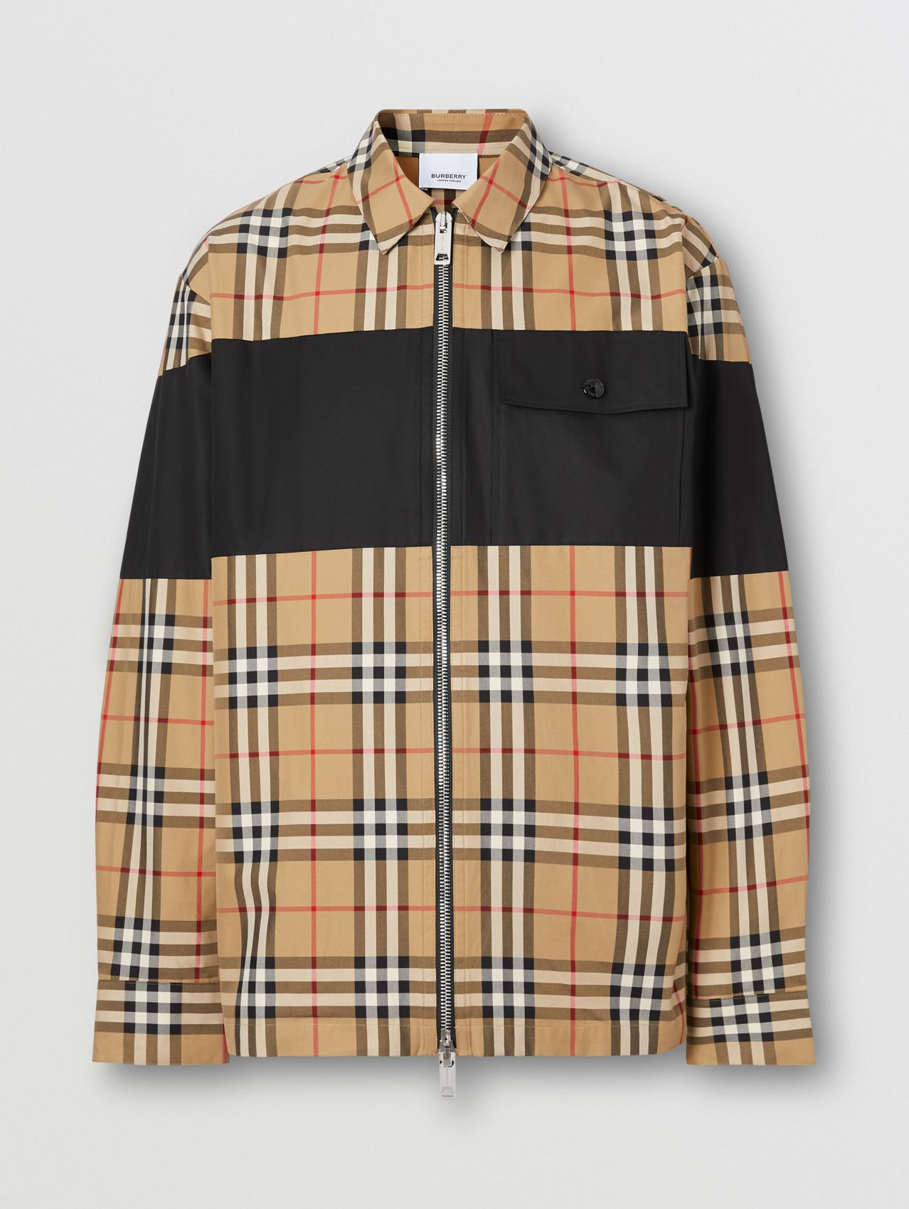 Contrast Panel Check Cotton Shirt in Archive Beige