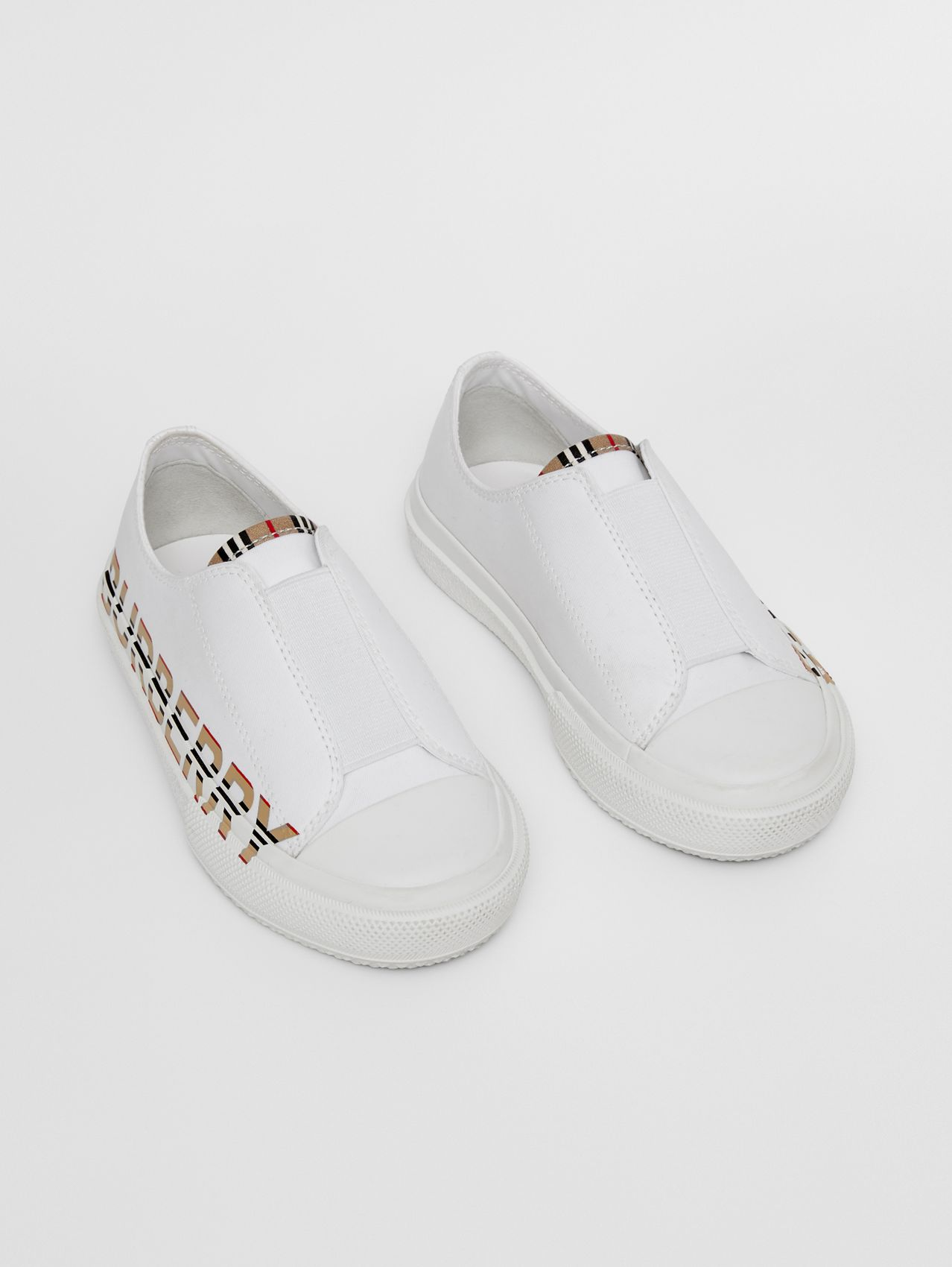 Icon Stripe Logo Print Cotton Gabardine Sneakers in Optic White