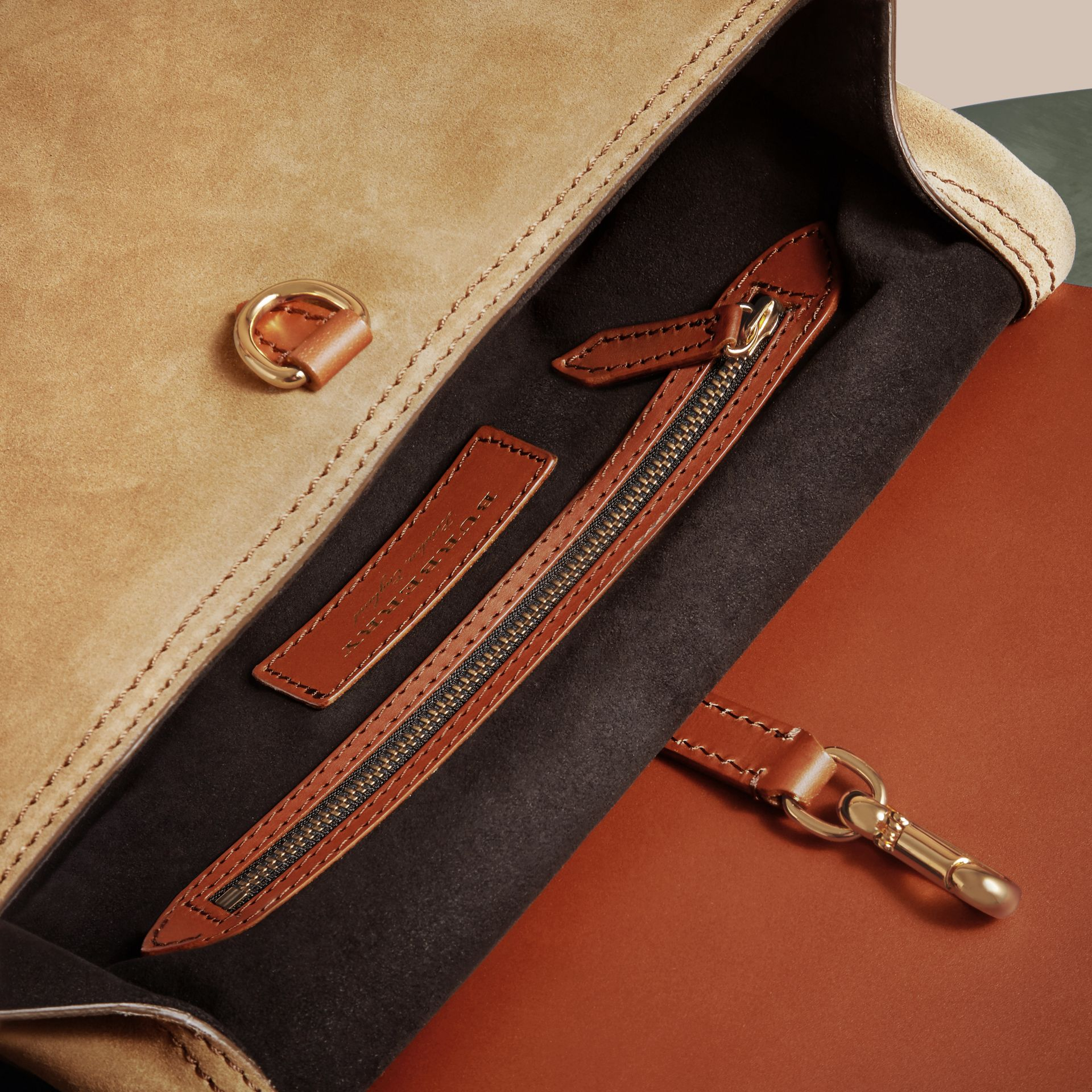 The Small Bridle Bag in Leather and Suede in Tan - Men | Burberry - gallery image 5