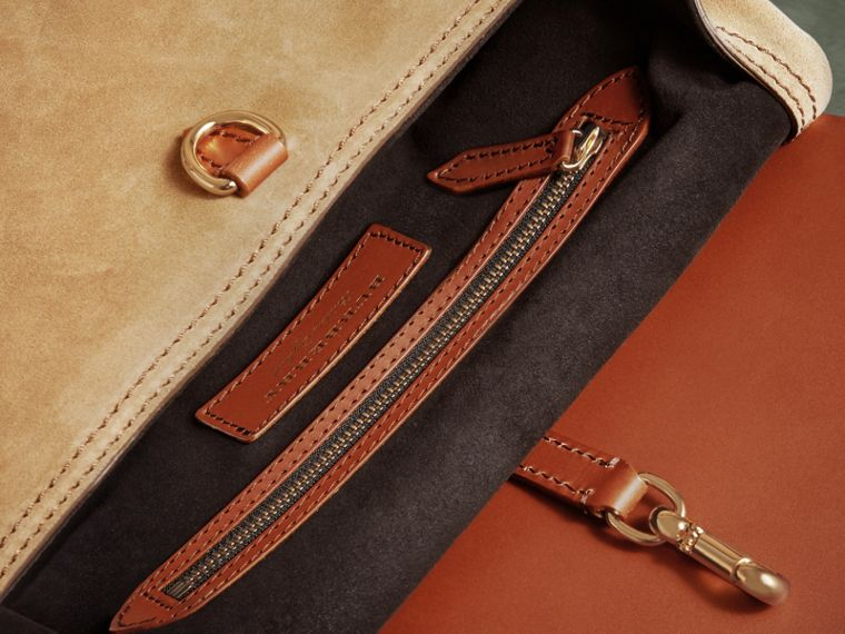 The Small Bridle Bag in Leather and Suede in Tan - Men | Burberry - cell image 4