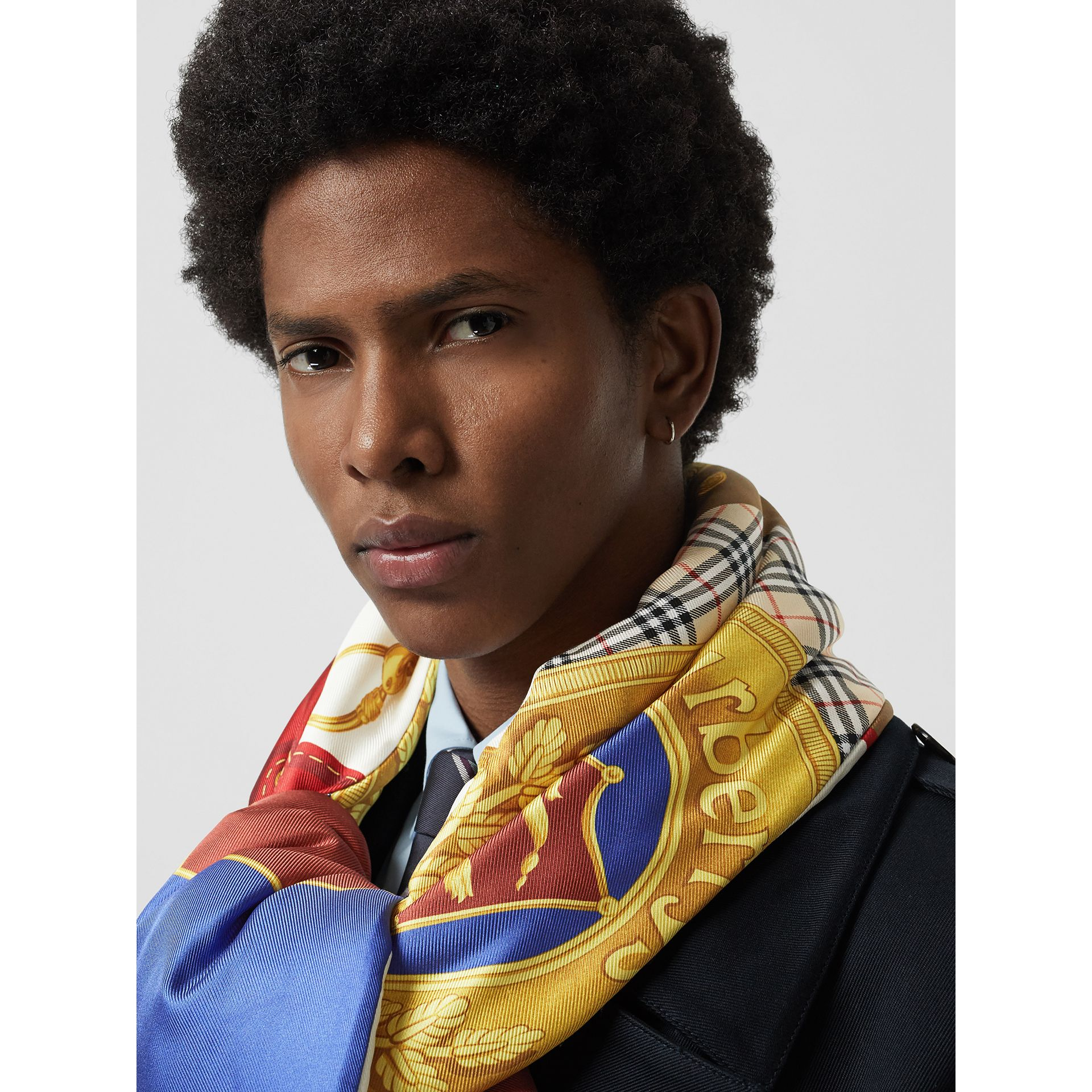 Archive Scarf Print Padded Silk Scarf in Antique Yellow | Burberry Australia - gallery image 6